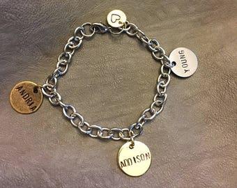 Hand stamped Mothers Bracelet