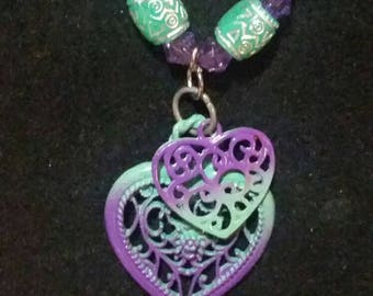 Purple-Teal Heart Beaded Charm Necklace