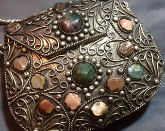 Vintage Sajai Silvertoned Metal Scrolled Purse or Clutch with Agate