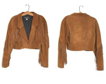 Vintage Cropped Suede Jacket with Fringe Hippie Jacket Boho Jacket Biker Jacket 70s 80s Brown Leather Jacket Brown Suede Jacket Cowgirl C1