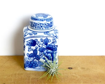Vintage Chinese ginger jar…pretty blue and white jar...square jar...made in China.