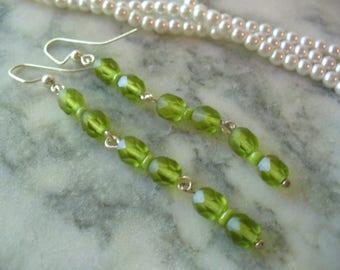 Long Dangle Earrings, Frosted Olive Earrings, Matte Olive Green Bead, Weddings, Sterling Silver Jewelry, Womens Jewelry, Silver Earrings