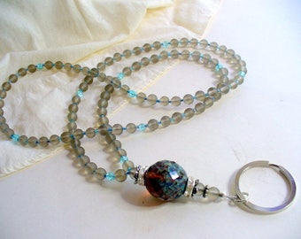 Blue and Gray Lanyard Necklace, Frosted Gray Glass Bead Lanyard, Nametag, Keychain Holder, Silver, Gray Necklace, Badge Holder