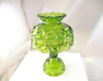Moon and Stars Green Glass 3 Piece Candle Lamp, Mint Condition