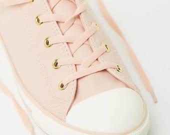 Converse Dainty Blush Daybreak Pink Nude Leather Gold Wedding Bride w/ Swarovski Crystal Jewel Rhinestone Bling Chuck Taylor All Star Shoes