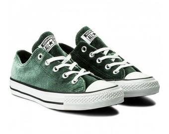 Custom Forest Emerald Green Converse Crush Velvet Low Top w/ Swarovski Crystal Rhinestone Bling Jewel Chuck Taylor All Star Sneakers Shoes