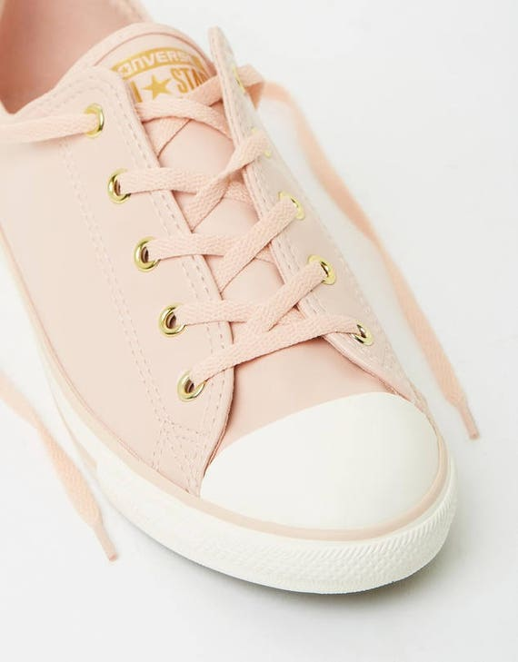Converse Dainty Blush Daybreak Pink Nude Leather Gold Wedding Bride w/ Swarovski Crystal Jewel Rhinestone Bling Chuck Taylor All Star Shoes