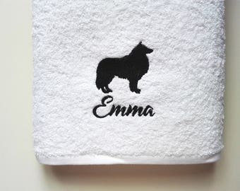 Shetland Sheepdog Towel / Personalized Towel / Gift / Monogrammed Towel / Hand Towel / Pets Towel / Bath Towels / Embroidered Towel