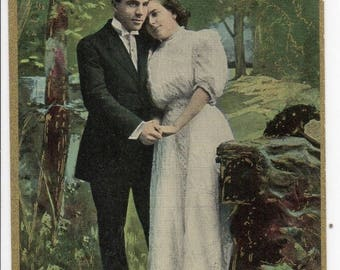 ON SALE Antique Color Romantic Postcard American Lovers Greeting Card Early 1900s Victorian Woman & Man Valentines in Love Photo Gold Gilt E