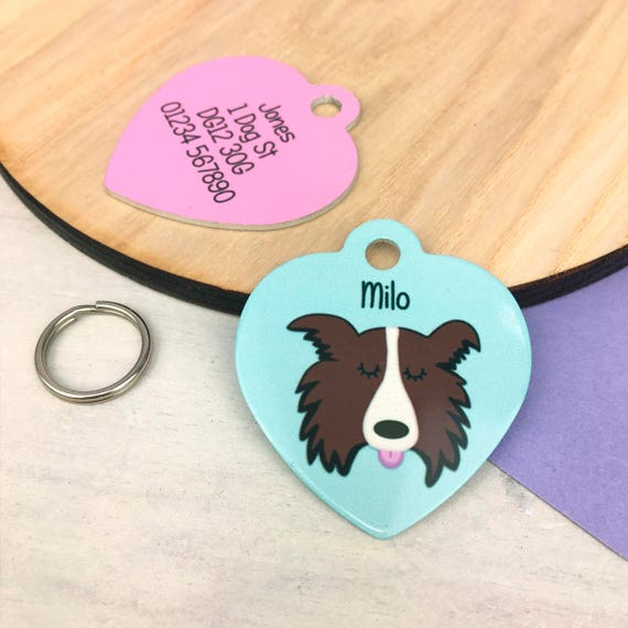 Dog tag border collie name tag heart collie collar tag like this item sciox Choice Image