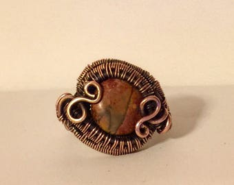 Copper wire wrapped ring with picasso jasper bead