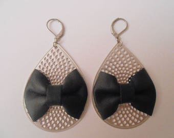 Black leather knot earrings