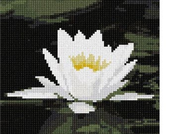 Needlepoint Kit or Canvas: White Nenunphar