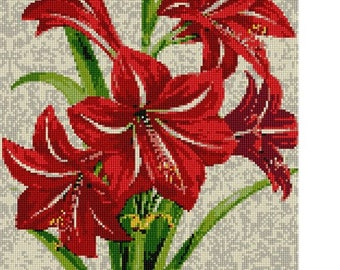 Needlepoint Kit or Canvas: Red Amaryllis Plant