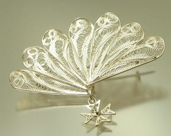 Vintage/ antique 1950s, 800 continental silver filigree, fan, brooch pin / pendant - jewelry jewellery
