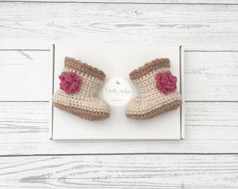 crochet booties   flower baby shoes   baby girl boots   newborn girl shoes   crochet shoes   baby girl gift
