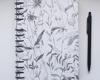 Wildflower Nature Black and White Sketched Cover Journal with Lined Paper