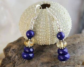 Earrings silver Lapis lazuli and Citrine