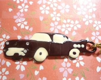 1 Enameled Old Car Caddy Chevy Key Ring