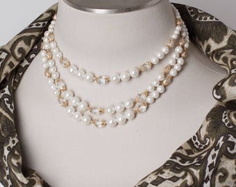 Vintage Three Strand Pearl and Crystal Bead Necklace