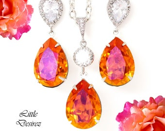 Swarovski Crystal Earrings Necklace Set Orange & Pink Jewelry Set Swarovski Astral Pink Bridesmaid Jewelry Gift Set Cubic Zirconia AP31JS