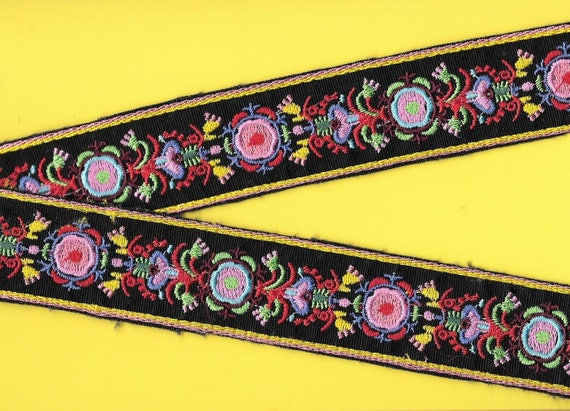 Floral embroidered ribbon trim cotton wide