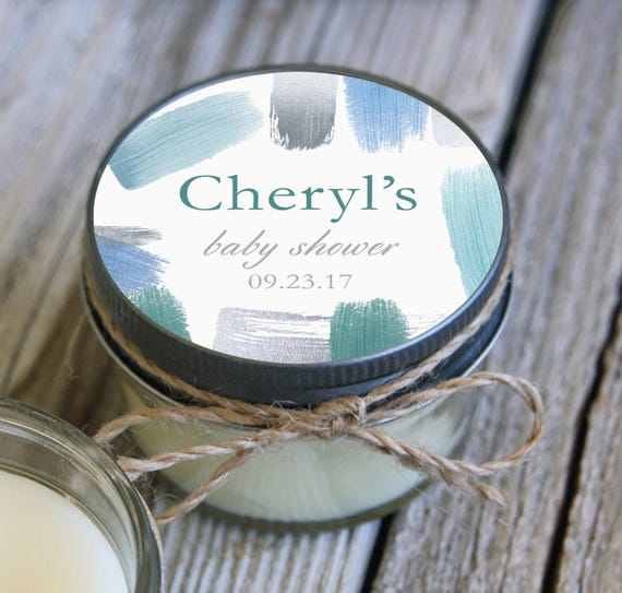 Set of 12 - 4 oz Soy Candle Bridal Shower Favors // Watercolor Wedding Favors // Baby Shower Favors // Bachelorette Party Favors