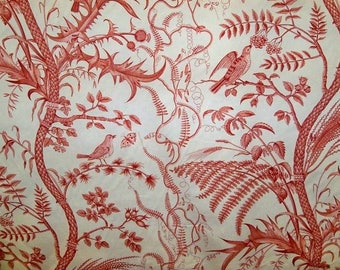 BRUNSCHWIG & FILS Birds Thistle Toile Fabric 10 Yards Red Off White