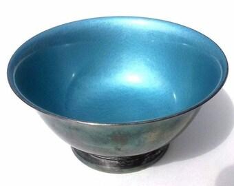 Nice REED & BARTON Blue Enameled Silver Bowl candy trinket