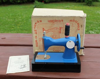 Kids sewing machine Soviet vintage kids sewing machine Childrens sewing machine Blue kids sewing machine Toys collectible