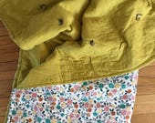 MEDIUM Double Gauze Quilt, floral and gold, organic cotton batting, baby and child