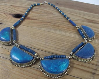 Vintage Bohemian Hippie Silver Tone Blue Necklace / Jewelry / Tibetan / 1960s / Bib Necklace / Statement Jewelry