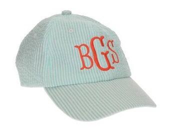Monogrammed Ball Hat / Personalized Cap / Beach Hat / Blue Seersucker /Ball Cap /Women's Adult Hat /Gift / Graduation Gift