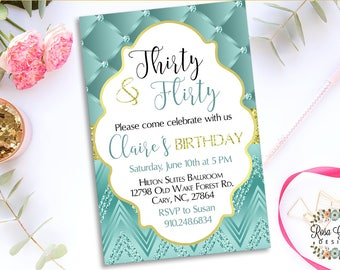 30th BIRTHDAY INVITATION - Birthday Party Invitation - Digital File - Fully Customized - 30 and flirty - Shabby Chic and Gold glitter