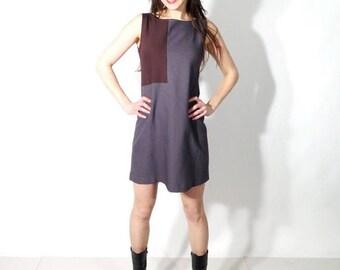 SALE Vintage 60s Grey Brown Sleeveless Mini Dress Size M