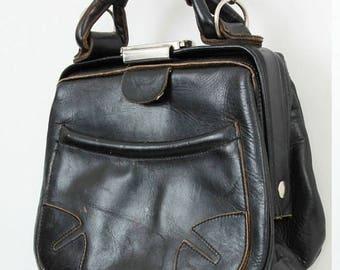 SALE Black Leather Purse / Woman Leather Bag / Small Leather Bag / Leather Handbag / Black Shoulderbag / 70s Purse / 70s Bag / Vintage Bag