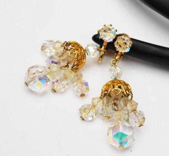 Crystal Earrings - AB Crystal Chandelier - clip on Dangle earrings -  Wedding Bride