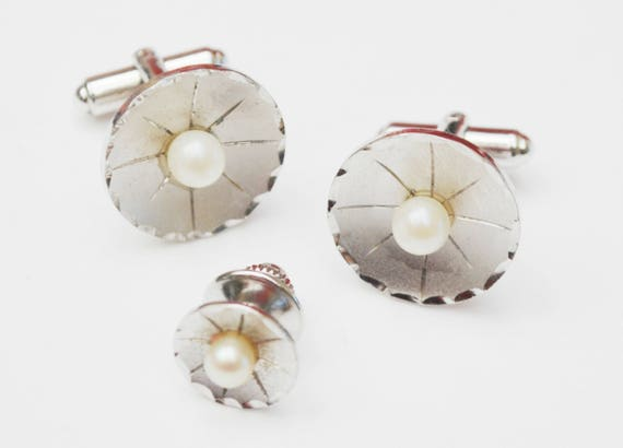 Sterling Silver Pearl  Cuff links and tie tact. - round white salt water pearl - wedding groom - cufflinks