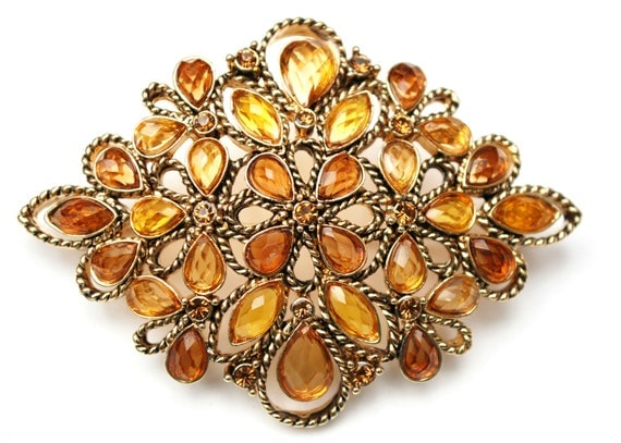 Monet Amber rhinestone   Brooch -   Yellow orange Lucite -  gold  - Mid Century - signed jewelry Pin