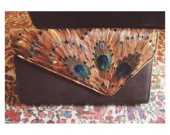 Vintage 70s psychedelic large peacock clutch bag
