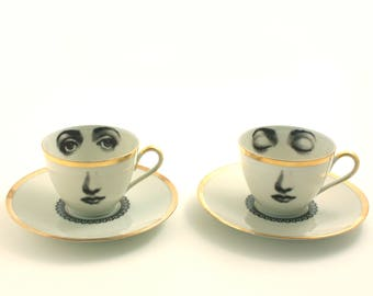 SALE Set of 2, Face Cups, Altered Art, 2 Cups, Vintage Porcelain Fine China Coffee Espresso Cups, Lina Cavalieri Geekery Romantic Whimsical