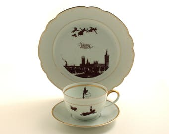 Peter Pan Quote, Altered Art, 3 Pieces Vintage Porcelain Cup Plate, Wendy, Barrie, Tea Coffee Cocoa Cup, Silhouette, Big Ben, London England
