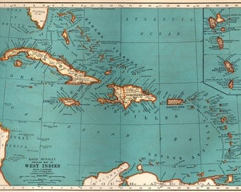 Caribbean Map Etsy - Maps of the caribbean islands
