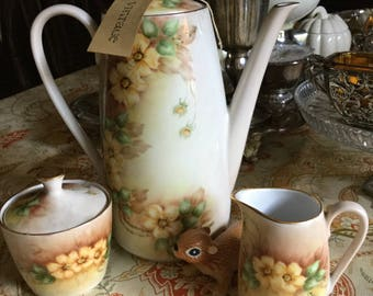 Lovely Bareuther Waldassen Bavaria Germany Teapot/Creamer/Sugar Bowl
