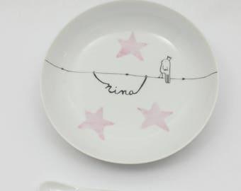 GIRL plate + spoon porcelain customizable bird King
