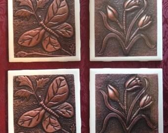 Hammered Bronze Design Coasters