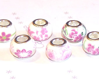 6 14 mm white and pink flowers ceramic European beads