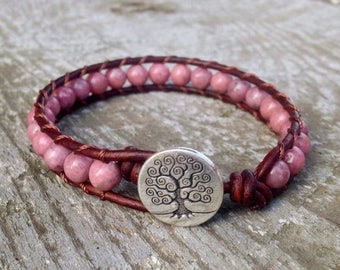 XMAS IN JULY pink rhodonite leather bracelet tree for heart chakra women girls