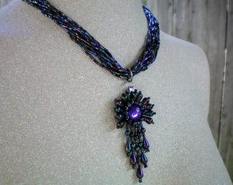 Blue, green, purple beaded drop necklace, Up-cycled/Re-purposed Jewelry, Sentimental/Reminiscent Jewelry ,Free USA shipping, Made in USA/ MI