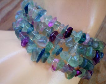 Rainbow fluorite chip memory wire bracelet, Recycled jewelry, Handmade jewelry, Repurposed, Upcycled, Free USA shipping,Made in USA/Michigan
